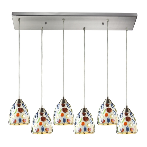 Elk Lighting Modern Multi-Light Pendant Light with Multi-Color Glass and 6-Lights 542-6RC