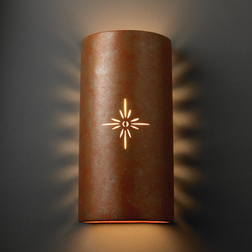 Justice Design Group Outdoor Wall Light in Rust Patina Finish CER-9025W-PATR