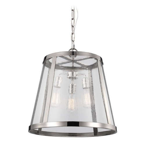 Feiss Lighting Seeded Glass Pendant Light Polished Nickel Feiss Lighting P1288PN