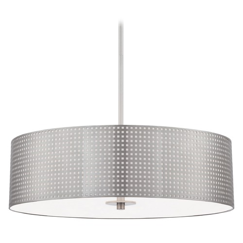 George Kovacs Lighting George Kovacs Grid Brushed Nickel Pendant Light with Drum Shade P5745-084