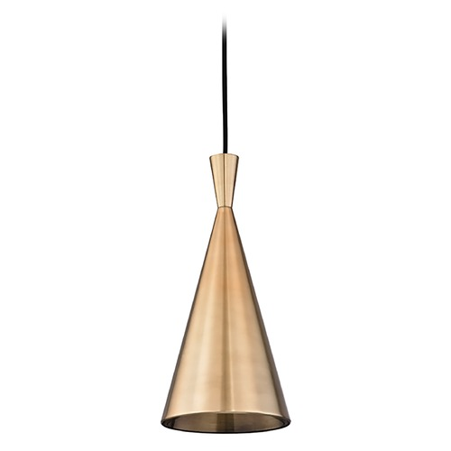 Hudson Valley Lighting Hudson Valley Lighting Ovid Aged Brass Mini-Pendant Light with Conical Shade 1920-AGB