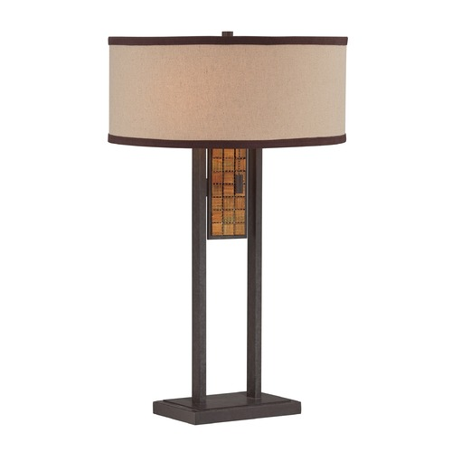 Lite Source Lighting Lite Source Aged Bronze Table Lamp with Drum Shade LS-22896