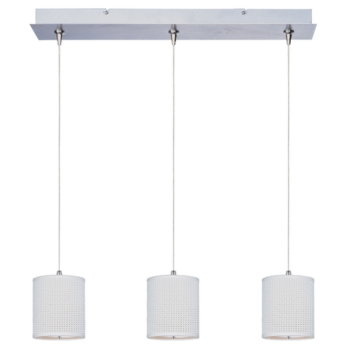 ET2 Lighting Modern Low Voltage Multi-Light Pendant Light with White Shades and 3-Lights E95497-100SN
