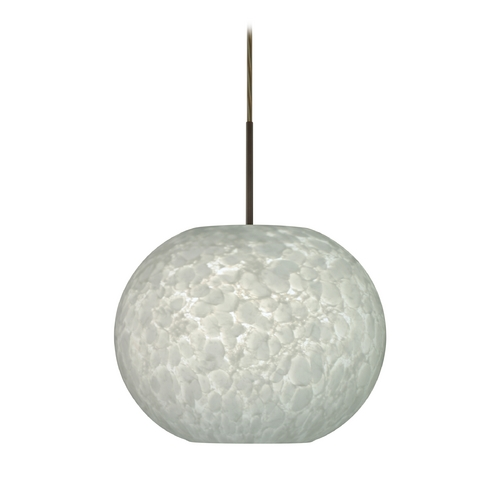 Besa Lighting Modern Pendant Light with White Glass in Bronze Finish 1JT-477619-BR