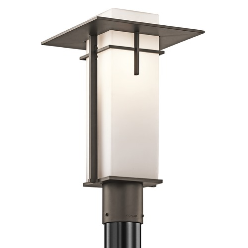Kichler Lighting Kichler Modern Post Light with White Glass in Olde Bronze Finish 49646OZ