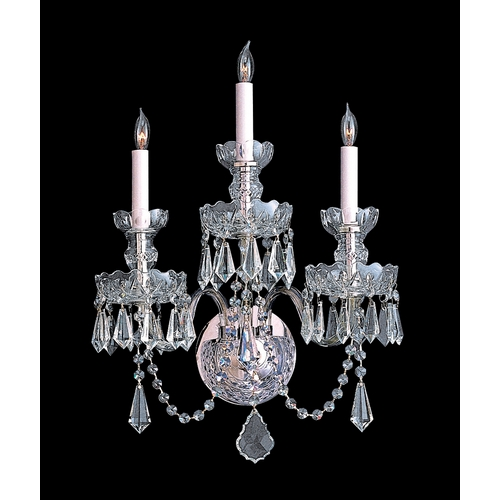 Crystorama Lighting Crystal Sconce Wall Light in Polished Chrome Finish 5023-CH-CL-S