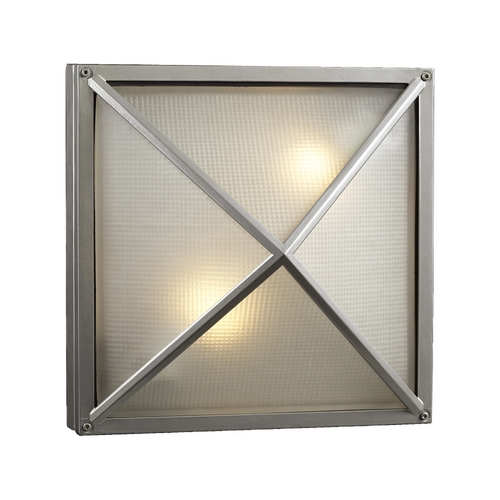 PLC Lighting Modern Outdoor Wall Light with White Glass in Silver Finish 31700 SL