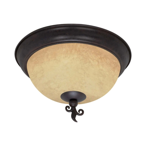 Nuvo Lighting Flushmount Light with Beige / Cream Glass in Old Bronze Finish 60/041