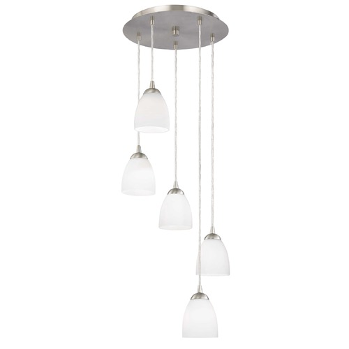 Design Classics Lighting Adjustable Multi-Light Pendant with White Bell Glass and Five Lights 580-09 GL1028MB