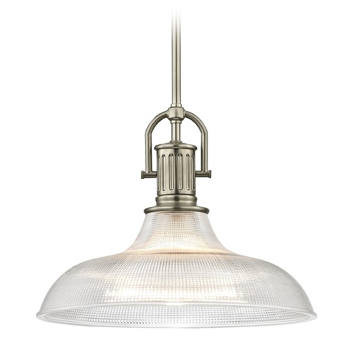 Design Classics Lighting Farmhouse Industrial Prismatic Pendant Light Satin Nickel 15.38-Inch Wide 1764-09 G1782-FC