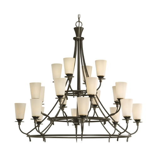 Progress Lighting Progress Chandelier with Beige / Cream Glass in Forged Bronze Finish P4040-77