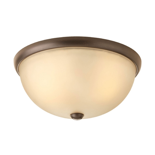 Progress Lighting Modern Flushmount Light with Beige / Cream Glass in Antique Bronze Finish P3651-20WB