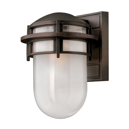 Hinkley Lighting Outdoor Wall Light with White Glass in Victorian Bronze Finish 1950VZ-GU24