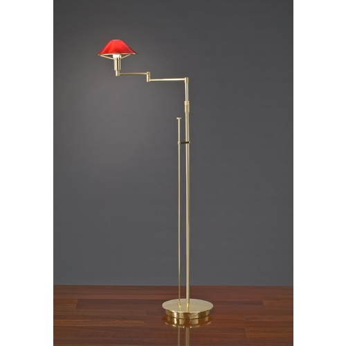 Holtkoetter Lighting Holtkoetter Modern Swing Arm Lamp with Red Glass in Polished Brass Finish 9434 PB MGR