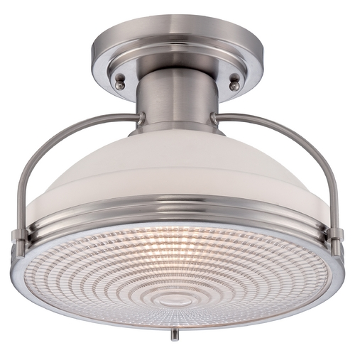 Quoizel Lighting Farmhouse Semi-Flushmount Light Brushed Nickel  by Quoizel Lighting QF1678BN