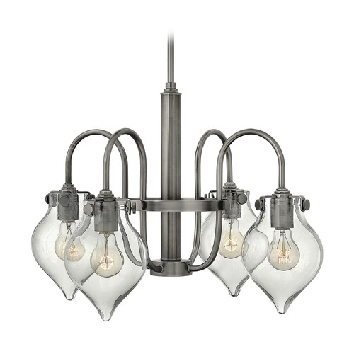 Hinkley Lighting Hinkley Congress 4-Light Chandelier with Clear Urn Glass in Antique Nickel 3047AN