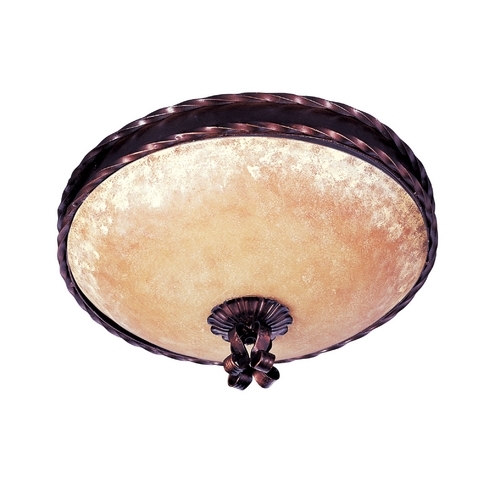 Maxim Lighting Flushmount Light with Amber Glass in Oil Rubbed Bronze Finish 20602VAOI