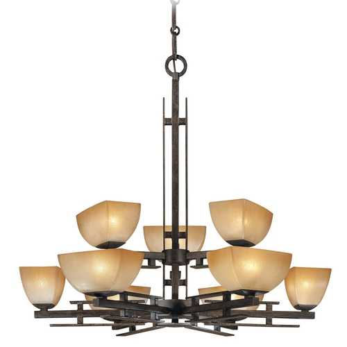 Minka Lavery Chandelier with Beige / Cream Glass in Iron Oxide Finish 1277-357