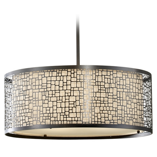 Feiss Lighting Modern Drum Pendant Light with Beige / Cream Glass in Light Antique Bronze Finish F2638/3LAB
