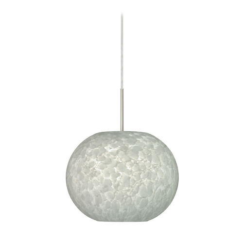 Besa Lighting Modern Pendant Light with White Glass in Satin Nickel Finish 1JT-477619-SN