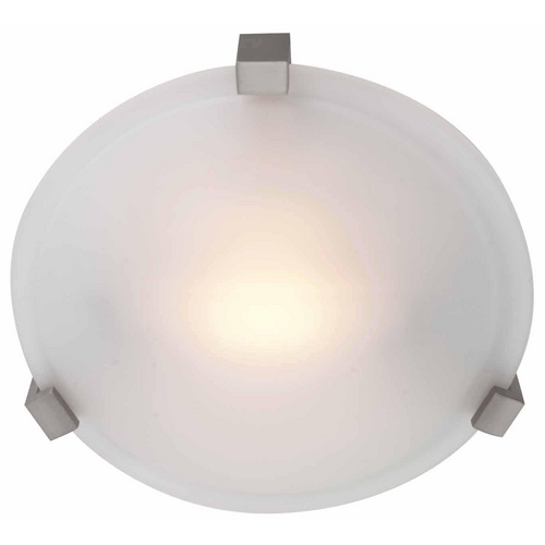 Access Lighting Modern Flushmount Light with White Glass in Satin Nickel Finish 50060-SAT/FST