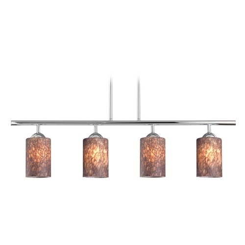 Design Classics Lighting Modern Island Light with Brown Glass in Chrome Finish 718-26 GL1016C