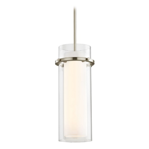 Design Classics Lighting Fab Satin Nickel Mini-Pendant Light with Cylindrical Shade 1718-09