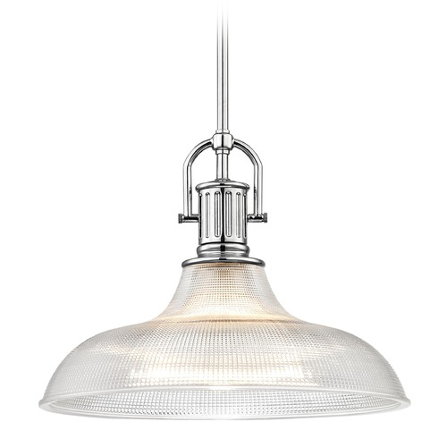 Design Classics Lighting Farmhouse Industrial Chrome Prismatic Pendant Light 15.38-Inch Wide 1764-26 G1782-FC