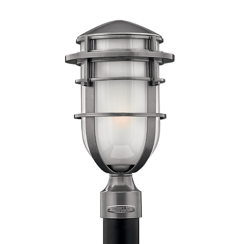 Hinkley Lighting Post Light with White Glass in Hematite Finish 1951HE-GU24