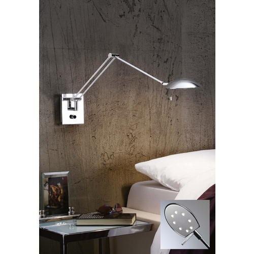 Holtkoetter Lighting Holtkoetter Modern LED Swing Arm Lamp in Chrome Finish 8193LED CH