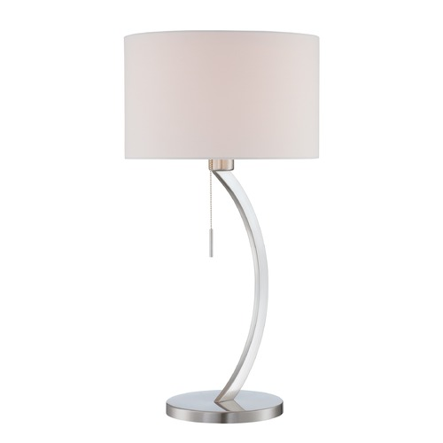 Lite Source Lighting Lite Source Satin Chrome Table Lamp with Drum Shade LS-22733