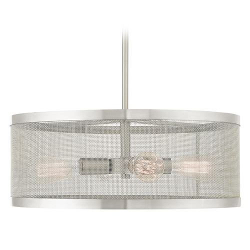 Livex Lighting Livex Lighting Industro Brushed Nickel Pendant Light with Drum Shade 46214-91