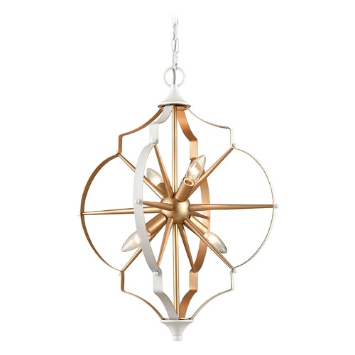 Elk Lighting Elk Lighting Laguna Beach Gold, White Mini-Chandelier 33395/4