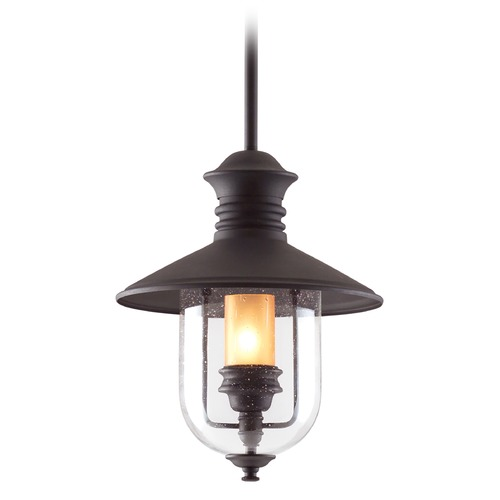 Troy Lighting Seeded Glass with Amber Cylinder Outdoor Hanging Light Bronze Troy Lighting F9363NB