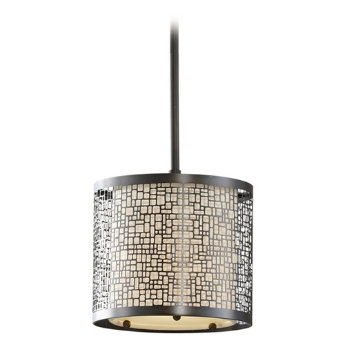 Feiss Lighting Modern Mini-Pendant Light with Beige / Cream Shade P1218LAB