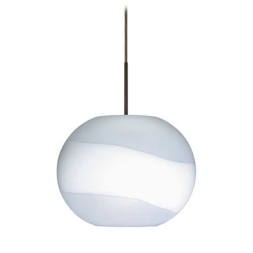 Besa Lighting Modern Pendant Light with White Glass in Bronze Finish 1JT-477699-BR