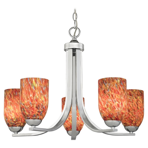 Design Classics Lighting Modern Chandelier with Art Glass in Polished Chrome Finish 584-26 GL1012D