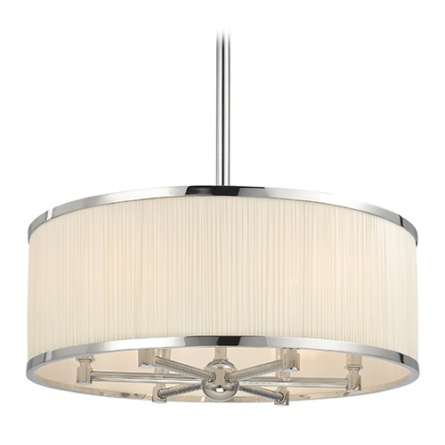 Hudson Valley Lighting Hastings 6 Light Pendant Light Drum Shade - Polished Nickel 5224-PN