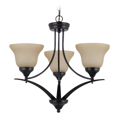 Sea Gull Lighting Chandelier with Amber Glass in Burnt Sienna Finish 31173-710