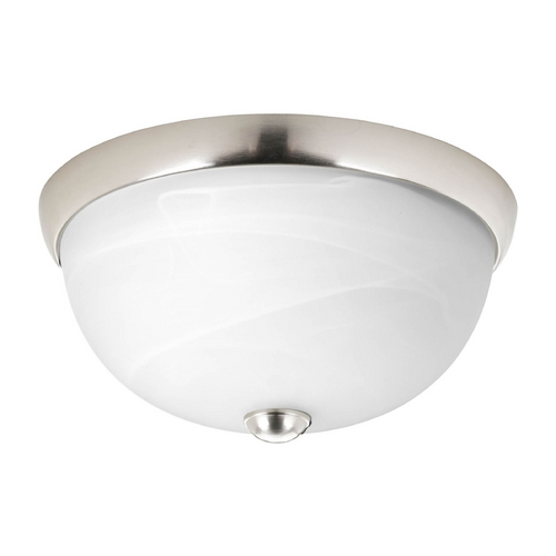 Progress Lighting Modern Flushmount Light with Alabaster Glass in Brushed Nickel Finish P3687-09WB