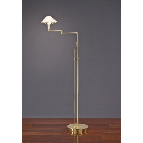 Holtkoetter Lighting Holtkoetter Modern Swing Arm Lamp with White Glass in Polished Brass Finish 9434 PB SW
