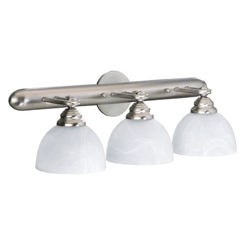 Quorum Lighting Quorum Lighting Hemisphere Satin Nickel Bathroom Light 5162-3-165