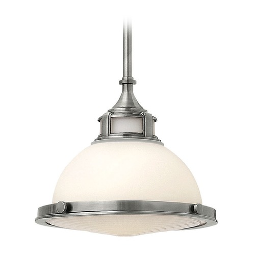 Hinkley Lighting Hinkley Lighting Amelia Polished Antique Nickel LED Mini-Pendant Light with Bowl / Dome Shade 3127PL-LED