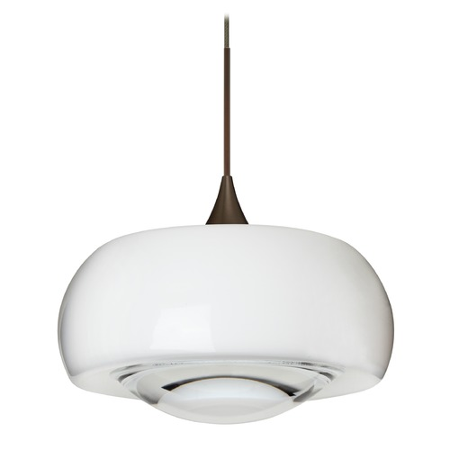 Besa Lighting Besa Lighting Focus Bronze LED Mini-Pendant Light with Oblong Shade 1XT-2633CL-LED-BR