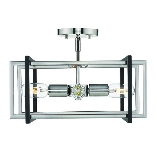 Golden Lighting Golden Lighting Tribeca Pewter Semi-Flushmount Light 6070-SFPW-BLK