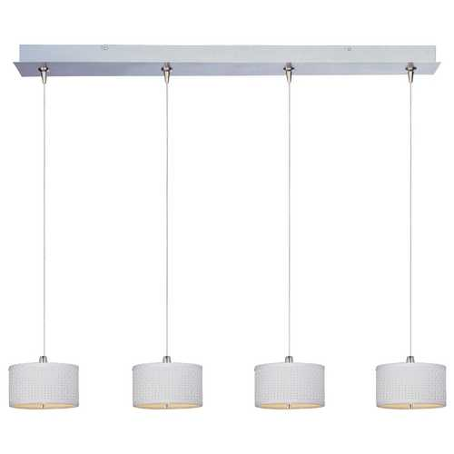 ET2 Lighting Modern Low Voltage Multi-Light Pendant Light with White Shades and 4-Lights E95498-100SN