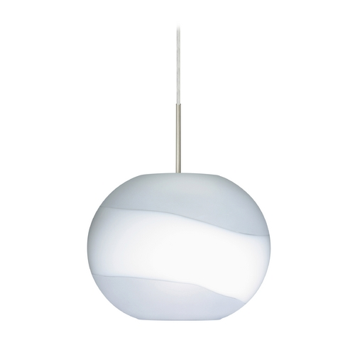 Besa Lighting Modern Pendant Light with White Glass in Satin Nickel Finish 1JT-477699-SN