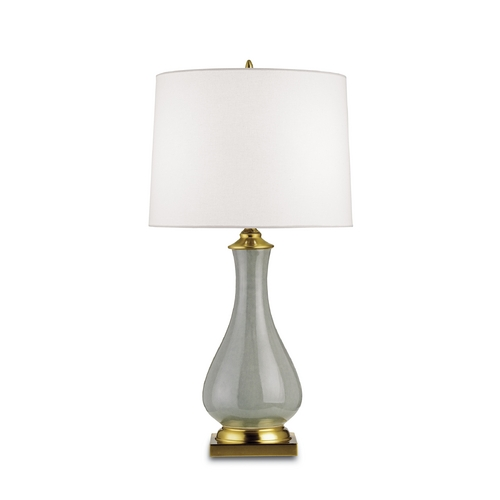 Currey and Company Lighting Table Lamp with White Shade in Grey Crackle/brass Finish 6419