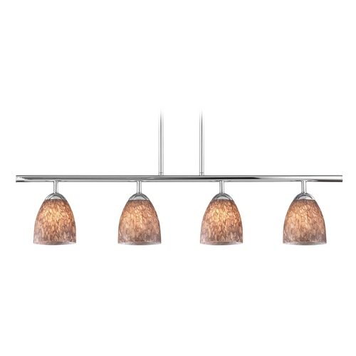Design Classics Lighting Modern Linear Pendant Light with 4-Lights and Brown Art Glass in Chrome Finish 718-26 GL1016MB