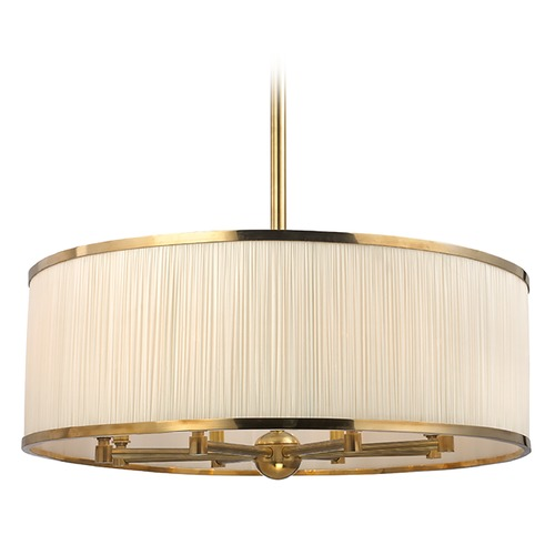 Hudson Valley Lighting Hastings 8 Light Pendant Light Drum Shade - Aged Brass 5230-AGB